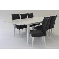 Sofiero matgrupp - Bord inklusive 6 st stolar - Vit