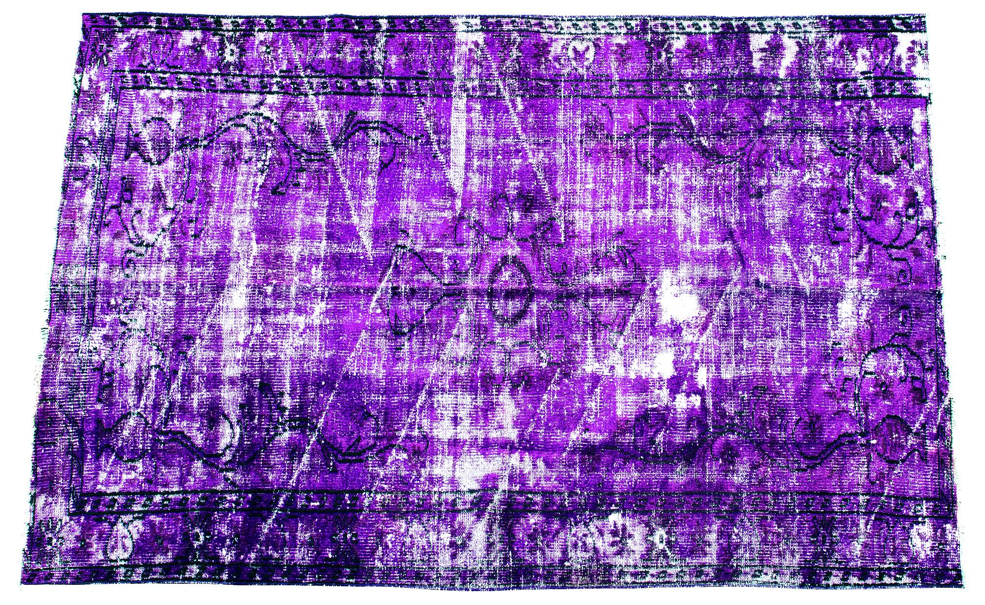 Äkta handknuten matta - Overdyed vintage Lila
