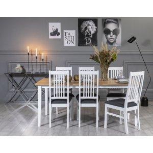 Fårö matgrupp: Bord 180 cm inklusive 6 Gåsö stolar - Vit/Ek