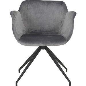 Gissebo karmstol - Grå velour/svart