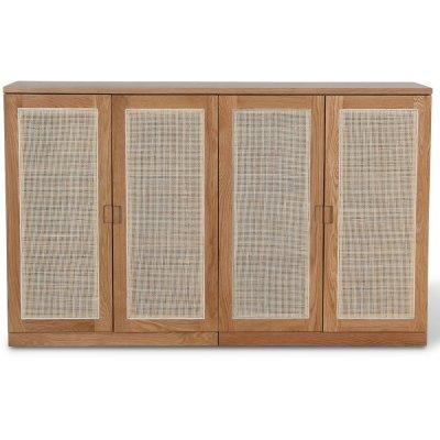 Level sideboard med dörrar i rotting B140 cm - Ek