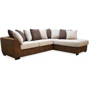 Delux soffa med öppet avslut höger - Brun/Beige/Vintage