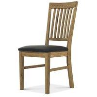 Royal ek stol - oljad ek/ svart PU