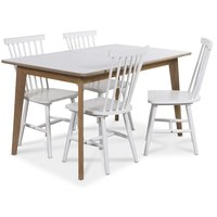 Holger matgrupp 140 cm bord med 4 st vita Visby pinnstolar