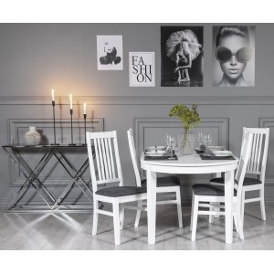 Gåsö matgrupp: Bord 160/210 cm inklusive 4 Gåsö stolar - Vit/Grå