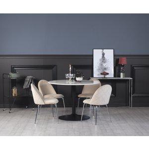 Plaza matgrupp, marmorbord med 4 st Plaza sammetsstolar - Beige/Krom/svart