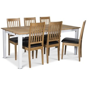 Österlen matgrupp, Klassiskt 180 cm matbord i vit/ek med 6 st Simris matstolar med svart PU