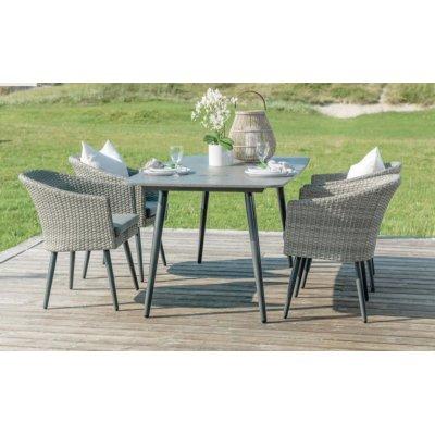 Brenäs matgrupp By Martinsen 4 stolar med bord - Grå konstrotting / Betong