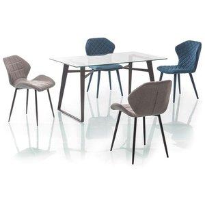 Jayda matbord 140 cm - Glas/svart