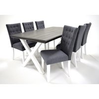 Farmer matgrupp - Bord inklusive 6 st stolar - Grå