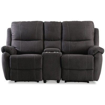 Enjoy Hollywood Biosoffa - 2-sits recliner (el) i antracit microfibertyg