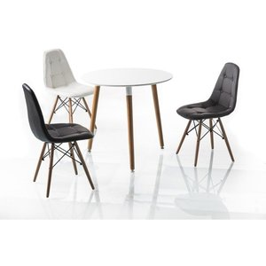 Adrienne matbord 80 cm - Vit/bok
