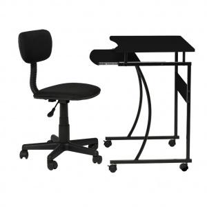 Mix datorbord med stol - svart/svart