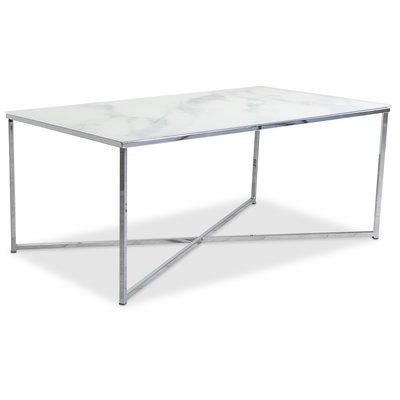 Palasso soffbord 110 cm - Krom / Ljus marmorering