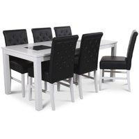 Jasmine matgrupp med vitlackat bord och 6 st Twitter matstolar i svart PU