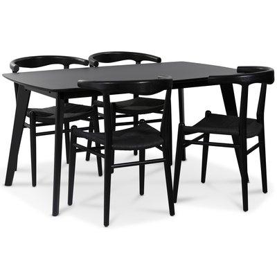 Sunda matgrupp: Oliver matbord HPL + 4 st Berit matstolar svart / svart repsits
