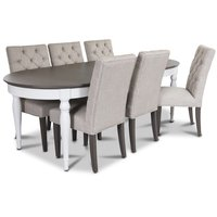 Hampstead matgrupp, bord med 6 st Ventos stolar i beige linneliknande tyg