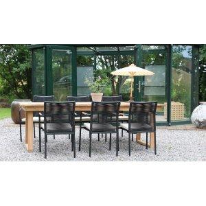 Saltö utematgrupp matbord 240x100 cm med 6 st Skanör karmstolar - Teak/Svart