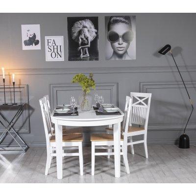 Gåsö matgrupp: Bord 160/210 cm inklusive 4 Fårö stolar med kryss - Ek/vit