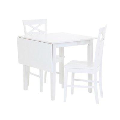 Matgrupp: Sander bord med klaff - Vit - 75 / 110 cm + 2 x Sander stol - Vit