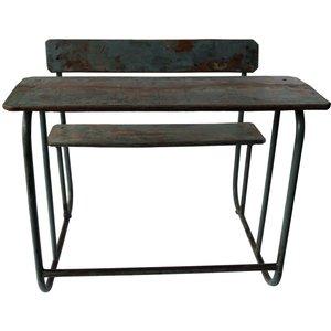 Trinidad vintage skrivbord med bänk - Grågrön