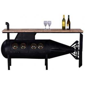 Ubåt barbord - Svart/mango