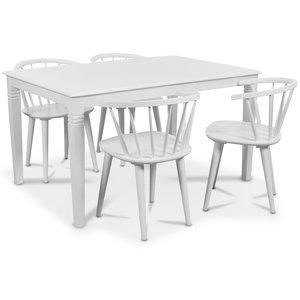 Mellby matgrupp 140 cm bord med 4 st vita Fredrik Pinnstolar med karm - Vit