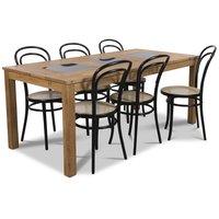 Jasmine matgrupp med bord och 6 st svarta Thonet stolar - Oljad ek / Granit