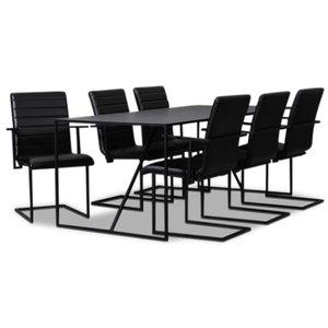 Lazio matgrupp 195 cm bord med 6 st Lazio stolar - Svart & 6490.00