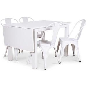 Sander matgrupp, Klaffbord med 4 st vita metallstolar - Vit/Vit