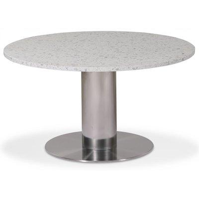 Next 85 runt soffbord - Borstad stål / terrazzo (Bianco)