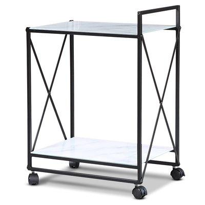 Serveringsvagn Paladium - Svart / Vitt marmorglas
