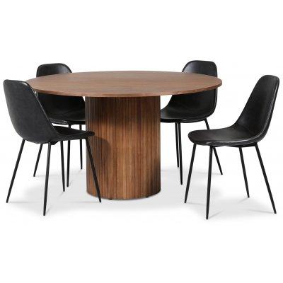 Pose matgrupp: Bord Ø130 cm inklusive 4 st Bjurträsk stolar - Valnöt