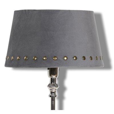 Velvet lampskärm med nitar 25 cm - Grå / mässing
