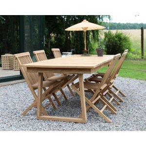 Saltö utematgrupp matbord 240x100 cm med 6 st matstolar - Teak