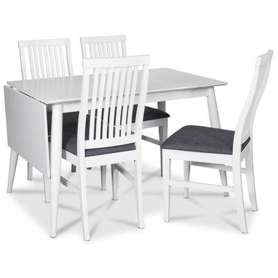 Tärnö matgrupp, Klaffbord med 4 st Kivik matstolar med grå tygsits