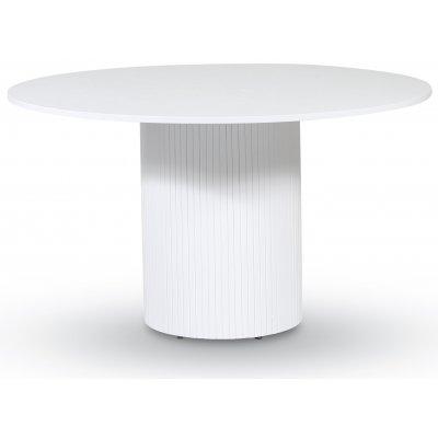 Pose matbord Ø130 cm - Vitbetsad ek