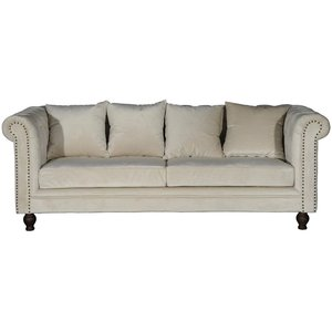 Chesterfield 3-sits soffa Churchill - Beige Sammet