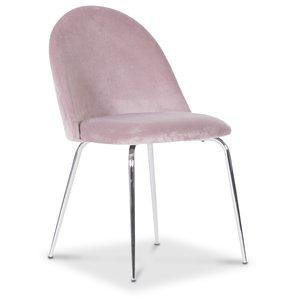 Plaza velvet stol - Ljusrosa / Krom