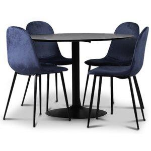 Seat matgrupp, matbord med 4 st Carisma sammetsstolar - Svart/Blå