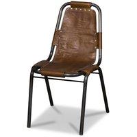 Aten stol - vintage metall/brunt läder