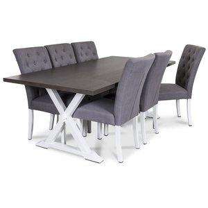 Malta matgrupp inklusive 6 st Oliva stolar i grått tyg