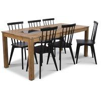Jasmine matgrupp med bord och 6 st svarta Linköping stolar - Oljad ek / Granit