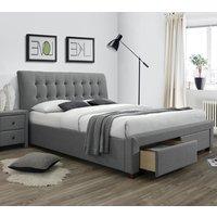 Earnest säng med förvaring - Grå (Tyg)