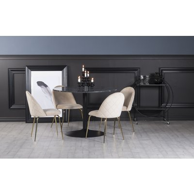 Plaza matgrupp, marmorbord med 4 st Plaza sammetsstolar - Beige/Grå/Svart