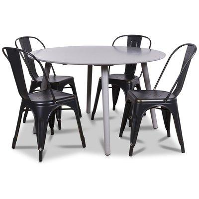 Rosvik matgrupp, Runt matbord med 4 st Industry plåtstolar - Grå/Svart/Guld