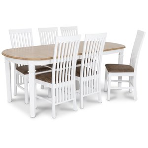 Ramnäs matgrupp - Bord inklusive 6 st Vindö stolar med brun vintage sits - Vit/ekbets