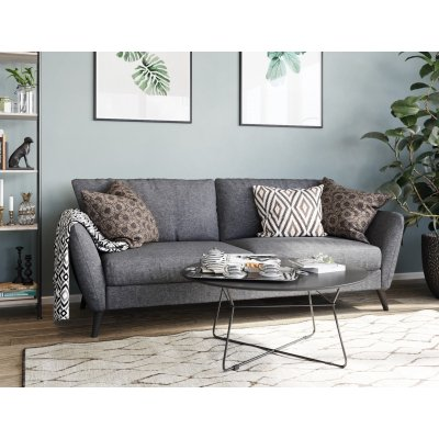 Country 3-sits soffa - Grå (tyg) / Svarta ben