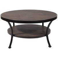 Manilla 90 cm runt soffbord - Mörkbetsad trä/svart