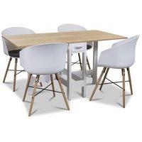 Signum matgrupp Slagbord vit/ek med 4 st Moon stolar med grå sits